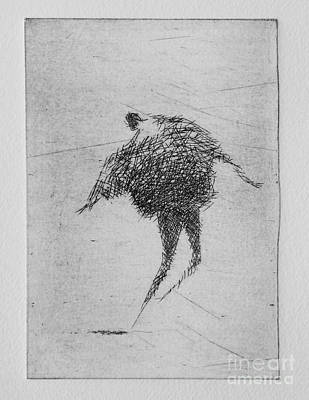 Etching Mixed Media - Walking Iv by Valdas Misevicius