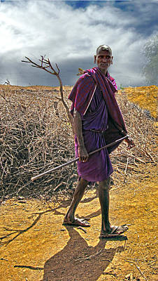 Photograph - Walking Masai by Marie Morrisroe