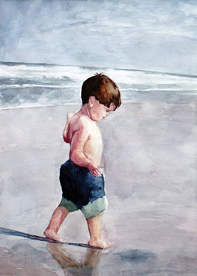 Painting - Walking On The Beach by Erin Rickelton