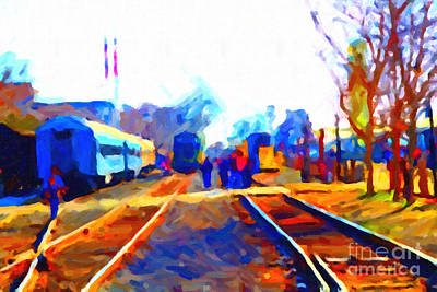 Walking On The Train Tracks In Old Sacramento California . Painterly . Vision 2 Art Print by Wingsdomain Art and Photography