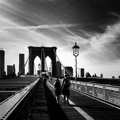 Walking Over The Brooklyn Bridge - New York City Art Print