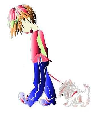 Walking The Dog Digital Art Characters Art Print by Ckeen Art