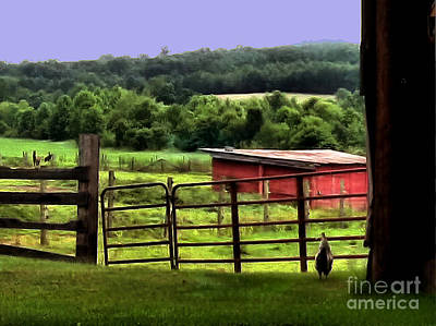 Big Rooster Painting - Walking To The Pasture by Elizabeth Coats