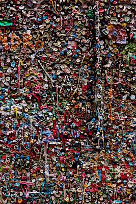 Mess Photograph - Wall Of Gum by Garry Gay