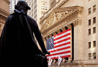 Photograph - Wall Street Flag by Brian Jannsen