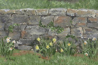 Painting - Wall With Daffodils by Margie Perry