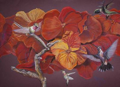 Painting - Wallflowers And Hummingbirds by Pamela Mccabe