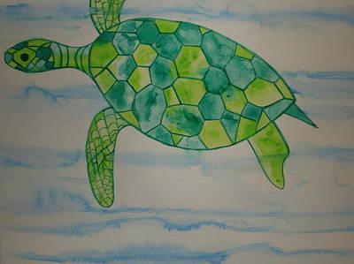 Painting - Wally The Hawaiian Sea Turtle by Erika Swartzkopf