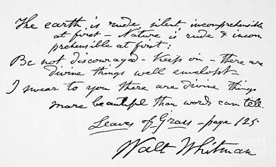 Autographed Photograph - Walt Whitman Manuscript by Granger