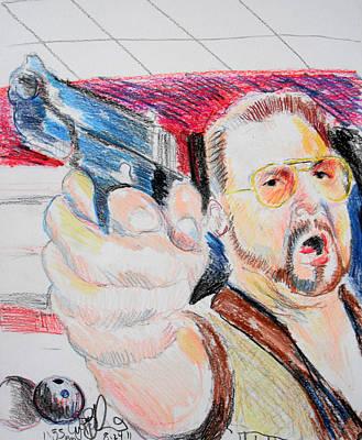 Lebowski Drawing - Walter Big Lebowski by Jon Baldwin  Art