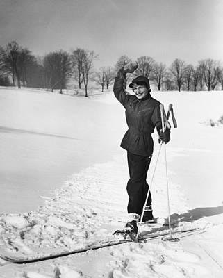 Wan Cross-country Skiing, Waving, (b&w) Art Print by George Marks