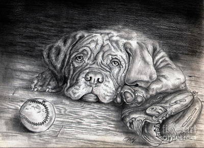 Baseball Drawing - Want To Play by Kathleen Kelly Thompson