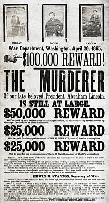 Wanted John Wilkes Booth Art Print by Photo Researchers