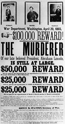 Wanted Poster For John Surratt, John Print by Everett