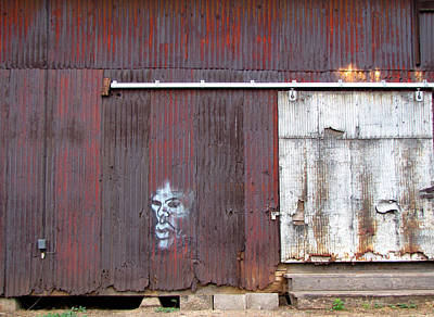 Photograph - Warehouse Wall Graffiti Face by Kathleen Grace