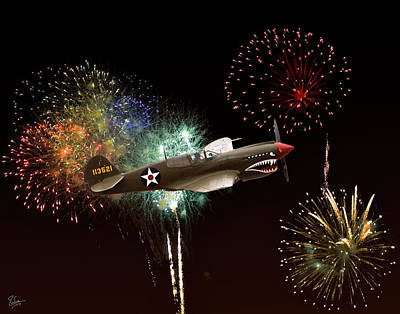 Photograph - Warhawk And Fireworks by Endre Balogh