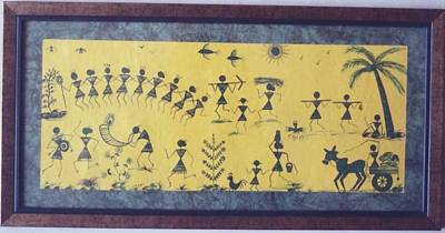 Warli Painting-a Day In The Life Of The Warla's Print by Kalasiddhii Art