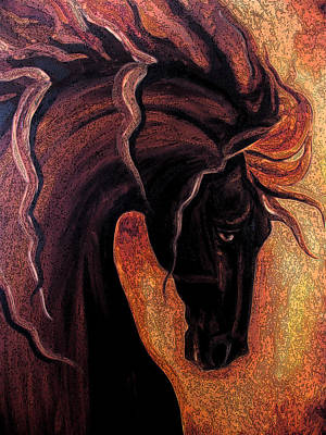 Windblown Painting - Warm Friesian by Leni Tarleton
