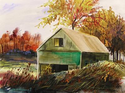 Old Barn Drawing - Warm Mood by John Williams