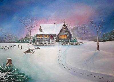 Painting - Warm Winter Cabin by S Robinson