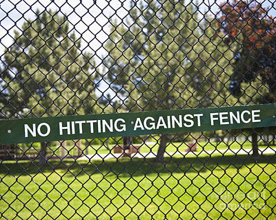 Warning Sign On Chain Fence Art Print by Thom Gourley/Flatbread Images, LLC