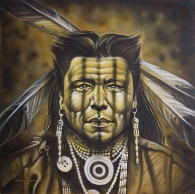 Native Portraits Painting - Warpath by Timothy Scoggins