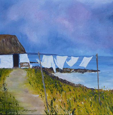 Scotland Painting - Wash Day On Berneray by Margaret Denholm