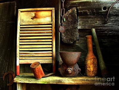 Log Cabins Photograph - Washboard Still Life by Julie Dant