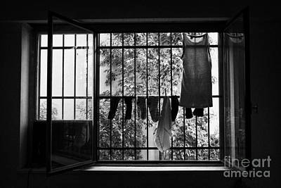 Washing Hanging Off Security Cage In An Apartment In Buenos Aires Art Print by Joe Fox
