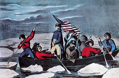 Washington Crossing The Delaware, 1776 Art Print by Photo Researchers