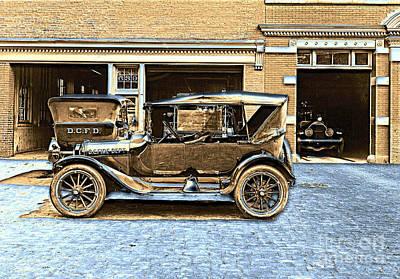 1916 Photograph - Washington D.c. Fire Department 1916 Color by Padre Art