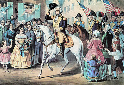 Washington Enters New York City After Print by Photo Researchers