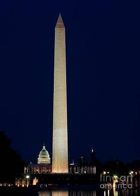Photograph - Washington Monument At Night by Nick Zelinsky