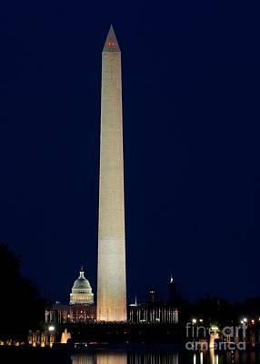 Photograph - Washington Monument At Night by Nick Zelinsky