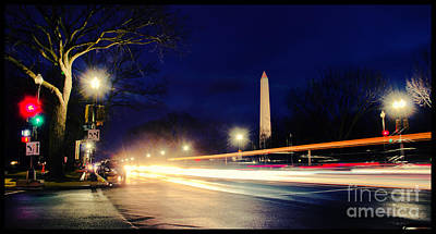 Washington Monument On A Rainy Rush Hour Art Print by Jim Moore