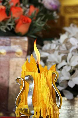 Photograph - Wat Candle With Offering Flowers Vertical  by Nola Lee Kelsey