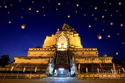 Lantern Digital Art - Wat Chedi Luang by Anek Suwannaphoom