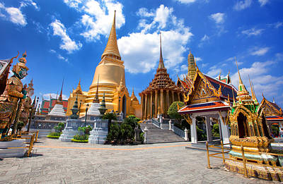 Wat Phra Kaew, Grand Palace, Bangkok Art Print by Photo By Prasit Chansareekorn
