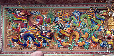Photograph - Wat Uphai Rat Bamrung Dancing Dragon Diorama Dthb1095 by Gerry Gantt