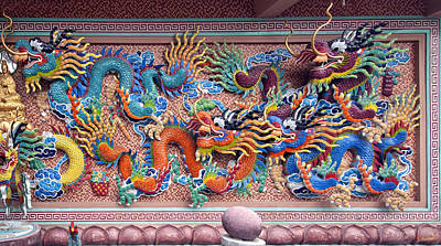 Photograph - Wat Uphai Rat Bamrung Dancing Dragon Diorama Dthb1097 by Gerry Gantt