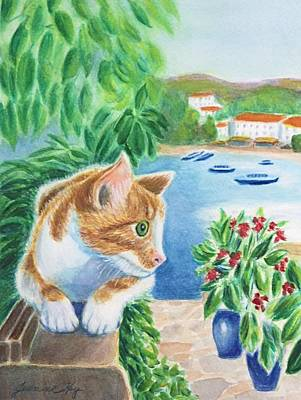 Painting - Watchful Greek Cat by Jeanne Kay Juhos
