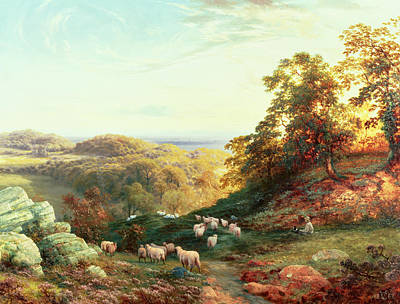 Sheep Dog Painting - Watching The Flock by George Vicat Cole
