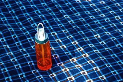 Water Bottle On A Blanket Art Print by Eric Tressler