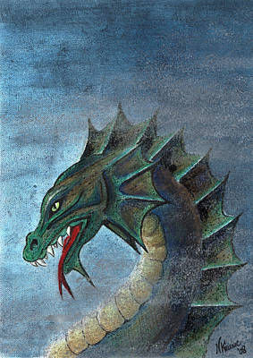 Mixed Media - Water Dragon by N Kirouac