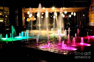 Water Fountain With Stars And Blue Green With Pink Lights Art Print