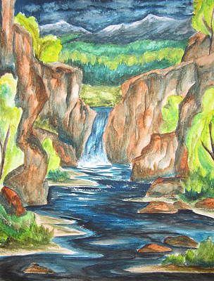Art Print featuring the painting Water From The Rockies by Cheryl Pettigrew