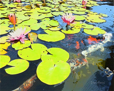 Water Lilies And Koi Art Print by Russ Harris