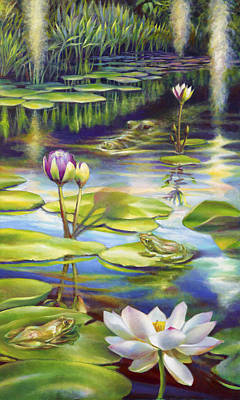 School Of Fish Painting - Water Lilies At Mckee Gardens IIi - Alligator And Frogs by Nancy Tilles
