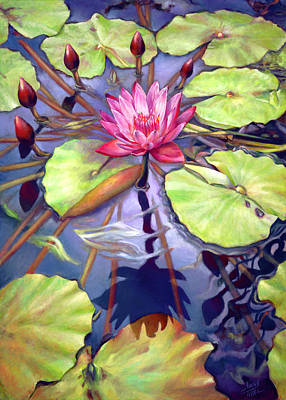Painting - Water Lilies In The Center Of Their Universe by Nancy Tilles