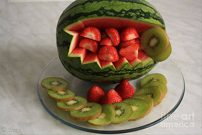 Water Melon Fruit Basket Original by Tracy  Hall